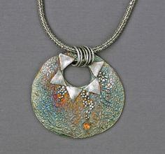Fine silver, oxidized, with citrine. Original Metal