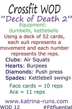 """Crossfit """"Deck of Death"""" at-home workouts -- two versions... I always hate when he brings out the cards!!"""