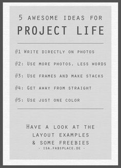<p>Project Life Ideas #1: Get out your creativity  I thought I might share some Project Life ideas which I collected actually for my own. Thanks to Pinterest & Internet I found some very nice layouts. Additionally I collected some nice Freebies according to the different layout tips. Feel free …</p>