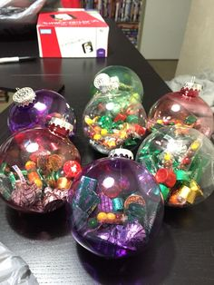Really cute & cheap treat bag idea. Great for coworkers/teachers/friends etc. The plastic ornaments cost 97¢ at Walmart and then just add small candy= cutest gift ever