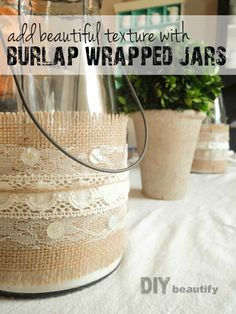 Burlap and lace candle holders | DIY beautify