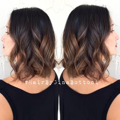 "Balayaged brunette ""lob"" FIND ME ON INSTAGRAM  @gina_bott #HairByGinaBottoni"