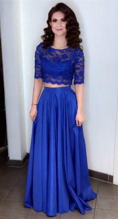 e28b480b9d4 Elegant Lace Crop Floor Length Satin Prom Dresses Two Piece Simple  Bridesmaid Dresses
