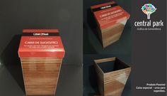 Caixa especial revestida com impressão laminada.