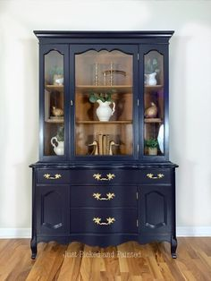 Refurbished Hutch, Refinished China Cabinet, Repurposed China Cabinet, Blue China Cabinet, Painted China Cabinets, Painted Hutch, China Cabinet Display, Cabinet Decor, Painted Furniture