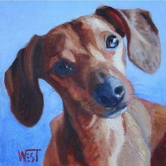 """#weinerdog  Follow the artist:  @toreenwestart  #artbotic #oil #artist #art #dachshund"" Photo taken by @artbotic on Instagram, pinned via the InstaPin iOS App! http://www.instapinapp.com (06/06/2015)"