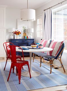 Red, white, and blue decor never looked so stylish! Decorate your home with stars, stripes, and patriotic colors to show off your American pride. These looks are perfect for summer holidays but can also last all year round. #redwhiteandbluedecor #homedecorideas #interiordesign #4thofjuly #bhg Mismatched Furniture, Blue Furniture, Blue Rooms, Blue Walls, How To Dress A Bed, Blue Color Schemes, White Pillows, Red White Blue, Room Inspiration