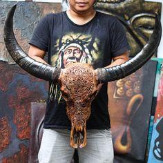 Hand Carved Floral Tribal BUFFALO Skull  Longhorns / Horns/   Etsy