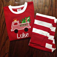 Personalized Christmas Pajamas Boys and Girls on Etsy, $30.00