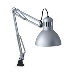 ikea tertial desk lamp--hacked to wall mount? Ikea Desk Lamp, Bedside Table Lamps, Ikea 2014, Study Lamps, Wooden Organizer, Work Lamp, Grey Desk, Wooden Desk, Decoration