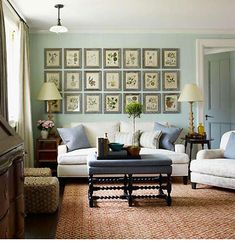 In this room, with an eclectic mix of contemporary items with antiques, the blue-green in floral print pillows picks up the same color in several other elements in the room.