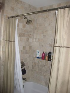 Love the double curtains outside the shower! From 867-53oh9.blogspo...