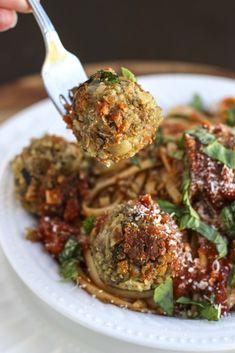 italian lentil quinoa balls with spaghetti for dinner