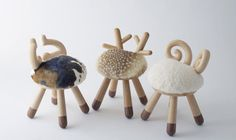 Cow chair, Bambi chair & Sheep chair by Takeshi Sawasa for Kamina C