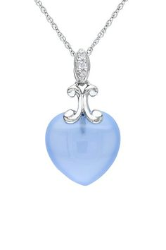 10K White Gold Blue Chalcedony Heart & Diamond Pendant Necklace