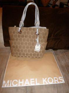 NWT Michael Michael Kors East/West Circle Signature Monogram Tote