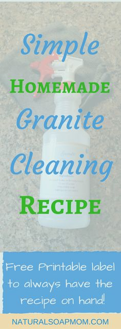 Looking for the best DIY granite cleaner recipe? Keep your granite counters looking shiny and new with simple granite cleaner. Diy Home Cleaning, Household Cleaning Tips, Cleaning Recipes, House Cleaning Tips, Cleaning Hacks, Cleaning Routines, Household Products, Household Cleaners, Kitchen Products