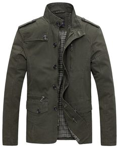 Wantdo Men's Soild Cotton Jacket Military Green
