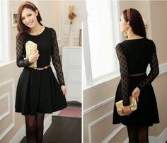 vestido preto de inverno curto