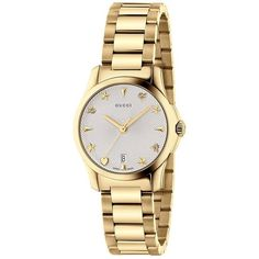 Gucci G-Timeless Yellow Gold House Motif Dial Watch (€890) ❤ liked on Polyvore featuring jewelry, watches, accessories, bracelets, clock, gold heart jewelry, gucci watches, heart-shaped watches, heart jewelry and gucci wrist watch