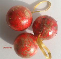 Boules Noël rouges et or : Accessoires de maison par creasoize