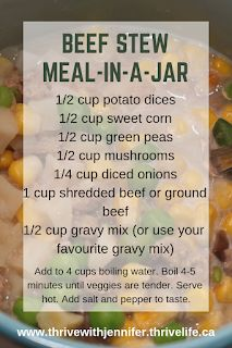 Beef Stew Meal-In-A-JarBeef Stew Meal-In-A-Jar These homey recipe is perfect for cold winter nights. My family loves the traditional taste, I love how easy it is to make! Dried Potatoes, Traditional Taste, Thrive Life, Shredded Beef, Fast Easy Meals, Meals In A Jar, Freezer Meals, Stew