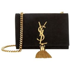 Saint Laurent Small Monogram Chain Tassel Bag ($1,675) ❤ liked on Polyvore featuring bags, handbags, purses, retro handbags, mini purse, yves saint laurent handbags, suede bag and yves saint laurent purses