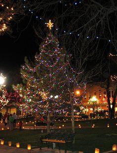 The Plaza at Santa Fe NM at holiday time