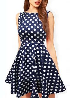 Charming Sleeveless Round Neck Dot Embellishment Mini Dress