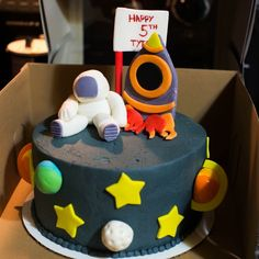Space Birthday Cake - Ada, Ok. Photography, cake and decor by Carrie Sanders - Every Little Detail - 580.279.5155 email: cmbooking@yahoo.com for availability, cakes and events!