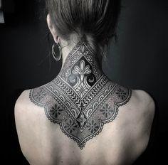 Ornamental Henna Neck Tattoo