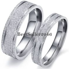 Frosted-Silver-Stainless-Steel-Mens-Womens-Engagement-Ring-Couples-Wedding-Band