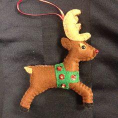 Felt Reindeer Decoration by HeartofButton on Etsy