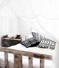 Monochromatic Boho Bedding with Canopy