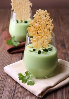 Chilled avacado and cucumber soup served with a light and airy parmesan cheese chip.  Appetizer & Finger Food Recipes