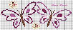 Farfalla Butterfly Cross Stitch, Crochet Butterfly, Cross Stitch Borders, Cross Stitch Flowers, Cross Stitching, Cross Stitch Embroidery, Cross Stitch Patterns, Cross Stitch Pillow, Cross Stitch Baby