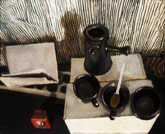 malarstwo olejne ciekawa martwa natura czarno biała monochromatyczna Urbaniak