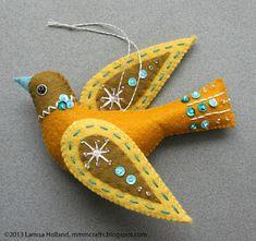 felt birds Snow Bird PDF pattern for a hand sewn wool felt ornament Felt Ornaments Patterns, Bird Ornaments, Felt Christmas Ornaments, Ornaments Design, Felt Patterns, Bird Patterns, Handmade Ornaments, Handmade Christmas, Christmas Crafts