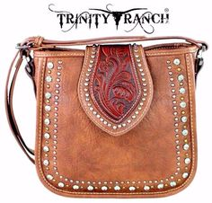 Montana West~Trinity Ranch~Tooled Partial Leather Messenger Bag~Purse~Brown…