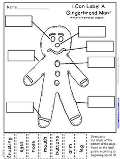 Gingerbread Man Labeling Activity