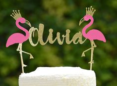 Personalized Flamingo Cake Topper,Flamingo Cake Topper,Flamingo Party Decor,Lets Flamingle Bachelorette Party,Birthday Party,Bridal Party by LucasAndMeCreations on Etsy https://www.etsy.com/listing/532763273/personalized-flamingo-cake