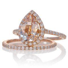 Bridal Set with matching band 14K Rose Gold Pear Cut Shape Diamond Halo Morganite Engagement Solitaire Wedding Anniversary Gemstone Ring $1650. Main stone 1.65 carats.