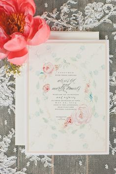 Beautiful floral wedding invitation with a painterly quality. #wedding #paper goods