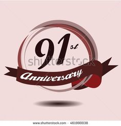 91st anniversary logo with circle composition soft chocolate color and ribbon