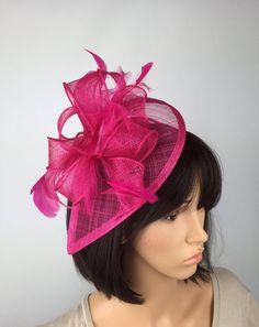 74d255bad11 Fuchsia Pink Hot Pink Fascinator Sinamay Fascinator wedding Fascinator  Hairstyles