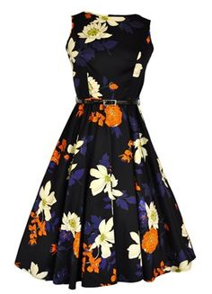 Apricot & Cream Floral on Black Hepburn Dress