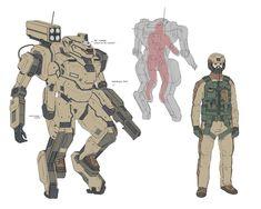 Patrol mech by Timo Kujansuu on ArtStation. Armor Concept, Weapon Concept Art, Armadura Ninja, Science Fiction, Character Concept, Character Design, Powered Exoskeleton, Mecha Suit, Gato Anime