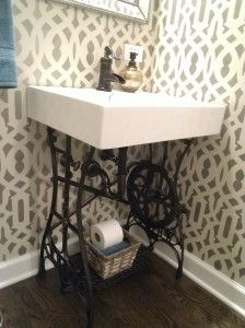This is a custom designed vanity that we salvaged a old sewing machine base and spray painted it oil rubbed bronze. put a sink on top. Perfect for our small bathroom- custom stenciled wall too! Hard to tell in the photos but that is a pewter metallic pa Country Decor, Farmhouse Decor, Furniture Update, Antique Sewing Machines, Sewing Table, Recycled Furniture, Diy Interior, Room Themes, Small Bathroom
