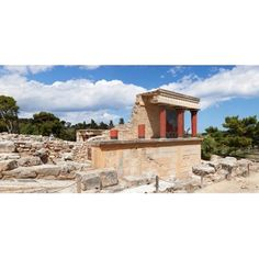 North Entrance of Minoan Palace Knossos Iraklion Crete Greece Canvas Art - Panoramic Images (27 x 9)