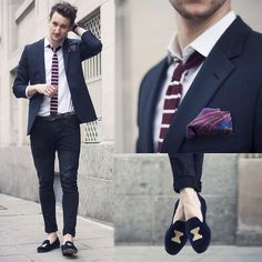 Hugo Boss Blazer, H&M Jeans, Aeropostale Knit Tie, Stubbs & Wootton Loafers